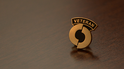Closeup of OCC Veterans Pin
