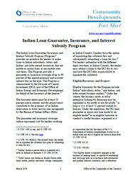Community Affairs Fact Sheet: Indian Loan Guarantee, Insurance, and Interest Subsidy Program - March 2019
